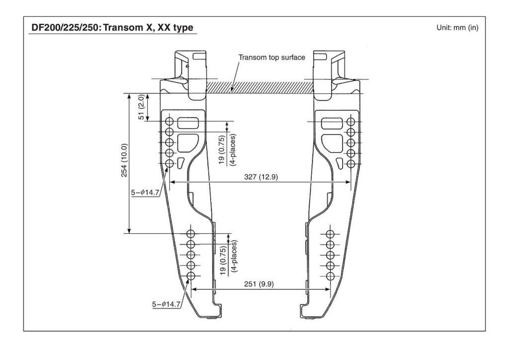 Схема установки, крепления и откидки лодочных моторов Сузуки DF200T / DF225T / DF250T - X / XX - V6