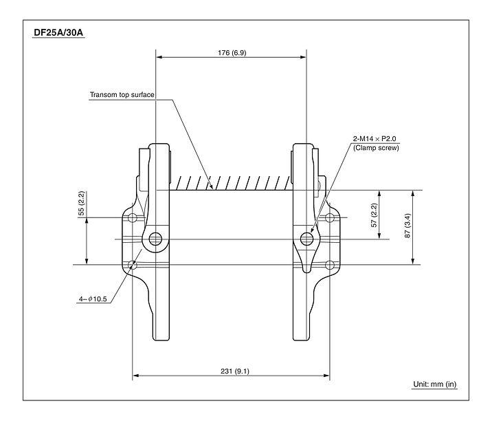 Схема установки лодочного мотора Сузуки DF25A / DF30A, схема откидки.