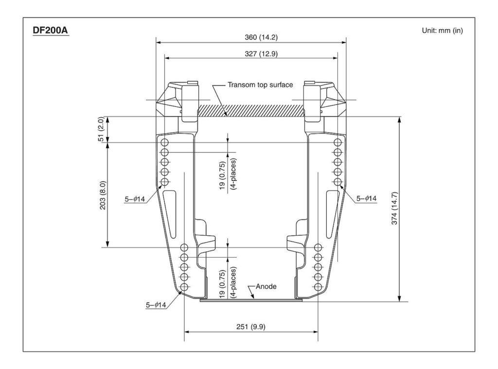 Схема установки и откидки лодочных моторов Сузуки DF150A / DF175A / DF200A / DF150T / DF175T