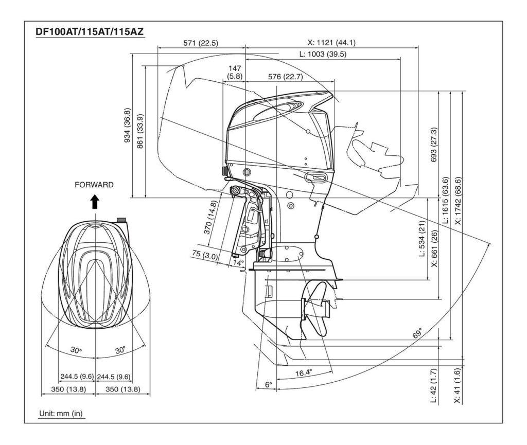Схема установки, крепления и откидки лодочных моторов Сузуки DF100A / DF115A