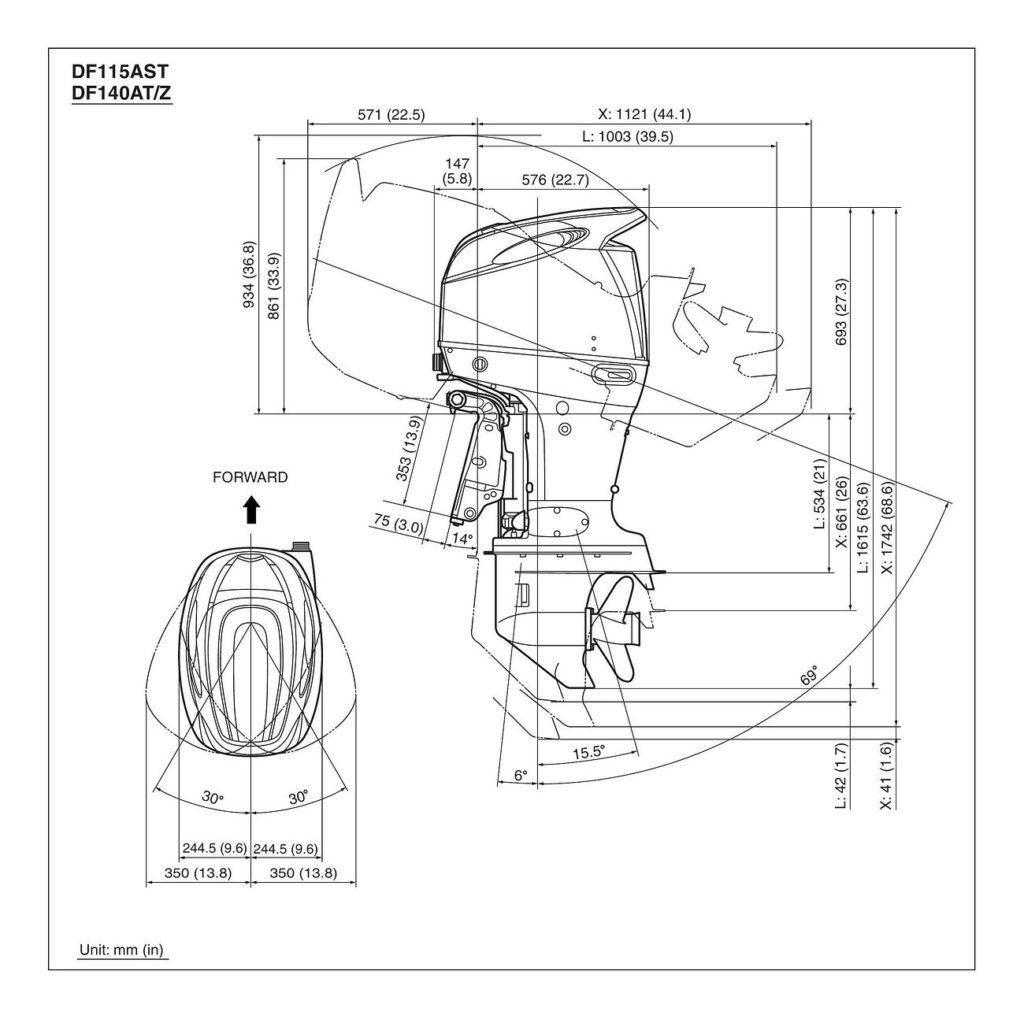 Схема установки, крепления и откидки лодочных моторов Сузуки DF115A / DF140A