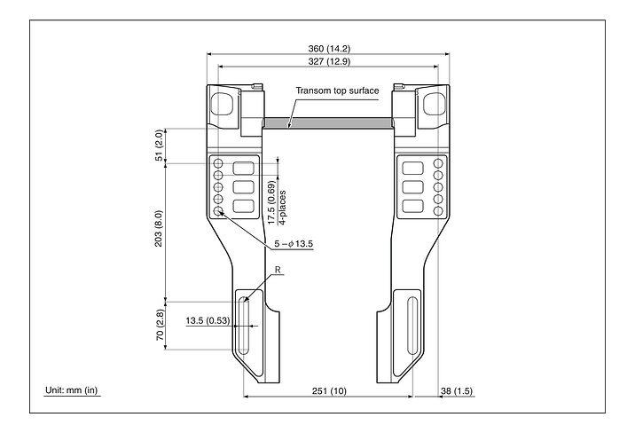 Схема установки, крепления и откидки лодочных моторов Сузуки DF70A / DF80A / DF90A / DF100B